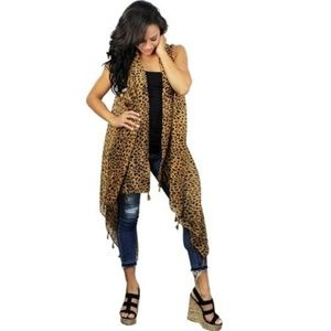 New Duster Long Cheetah Southwestern Vest Brown